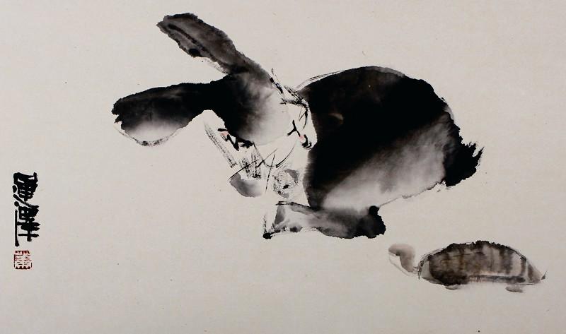 儿童国画写意兔子