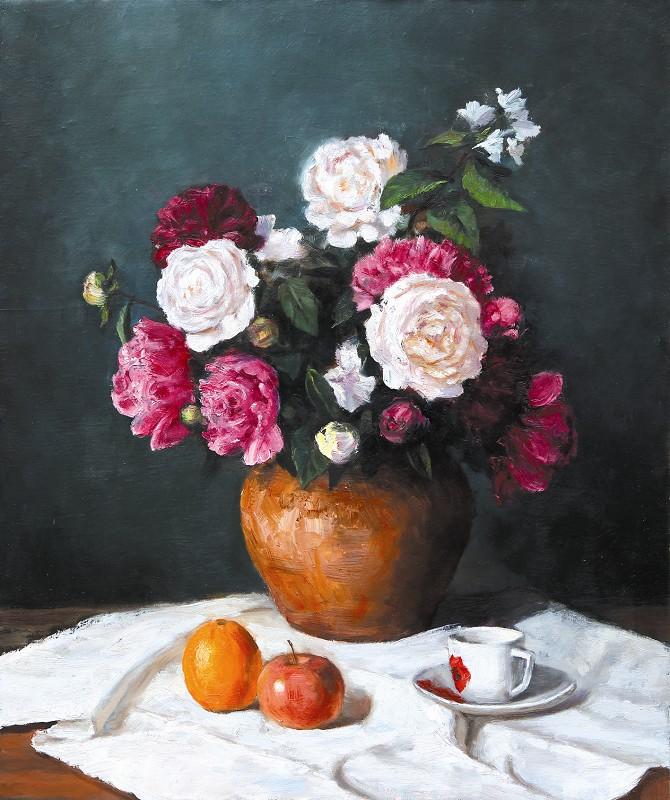 余长明作品《静物花卉》70×60cm